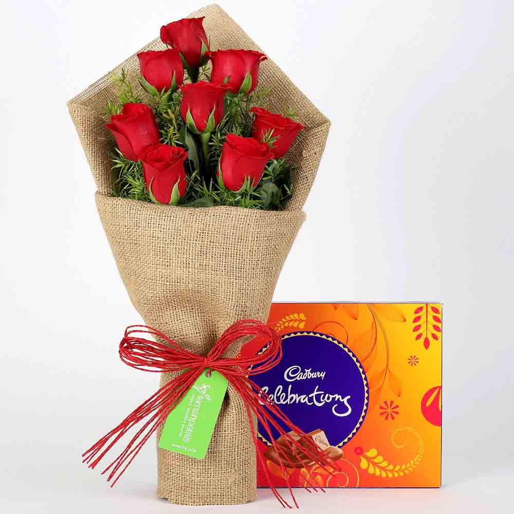 8 Red Roses Bouquet & Cadbury Celebrations