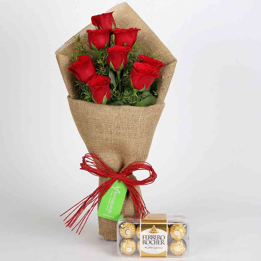 Chocolates & Flowers-8 Red Roses Bouquet With Ferrero Rocher