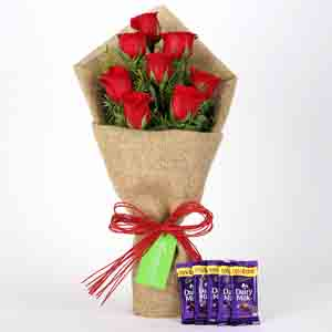 Chocolates & Flowers-8 Red Roses Bouquet & Dairy Milk Chocolates