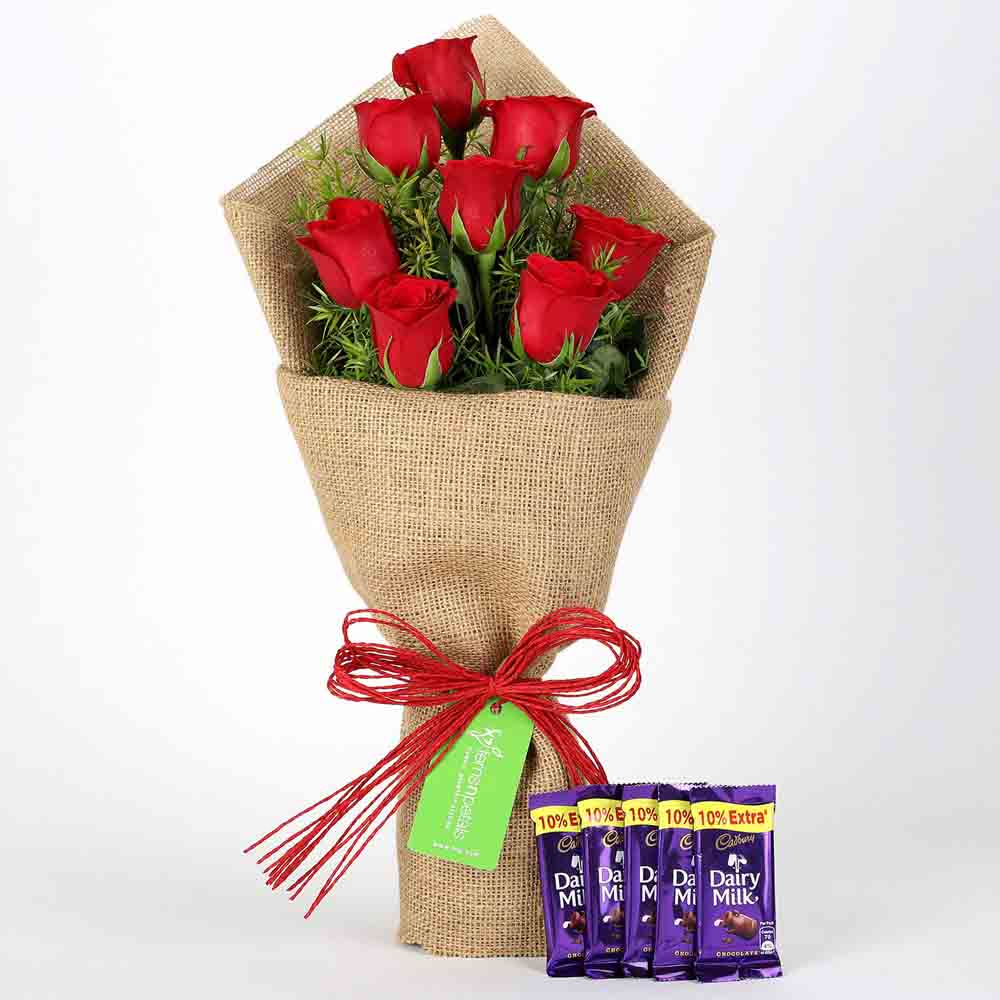 8 Red Roses Bouquet & Dairy Milk Chocolates