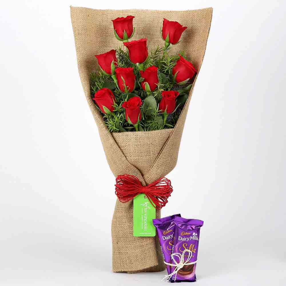 10 Red Roses Bouquet & Dairy Milk Silk