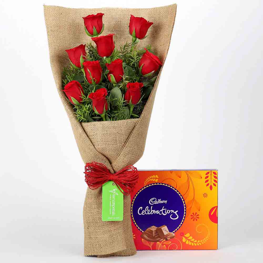 10 Red Roses & Cadbury Celebrations