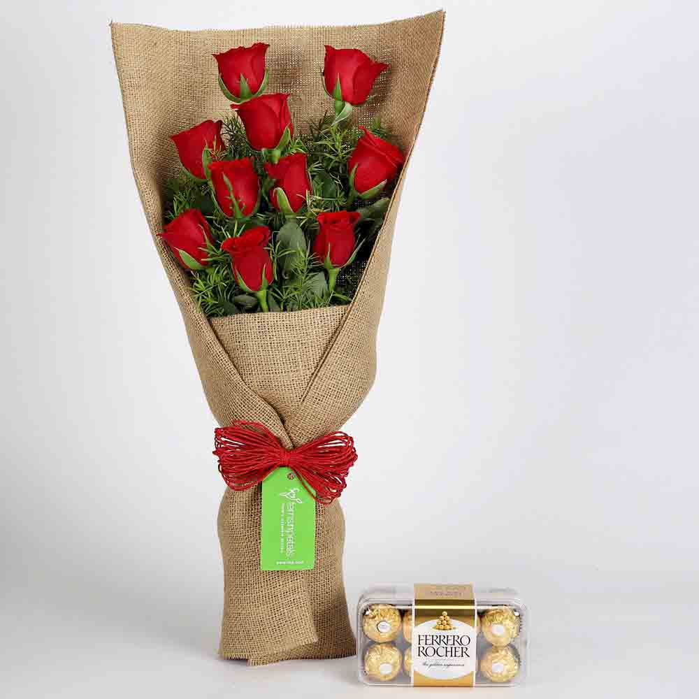 10 Red Roses & Ferrero Rocher Chocolates
