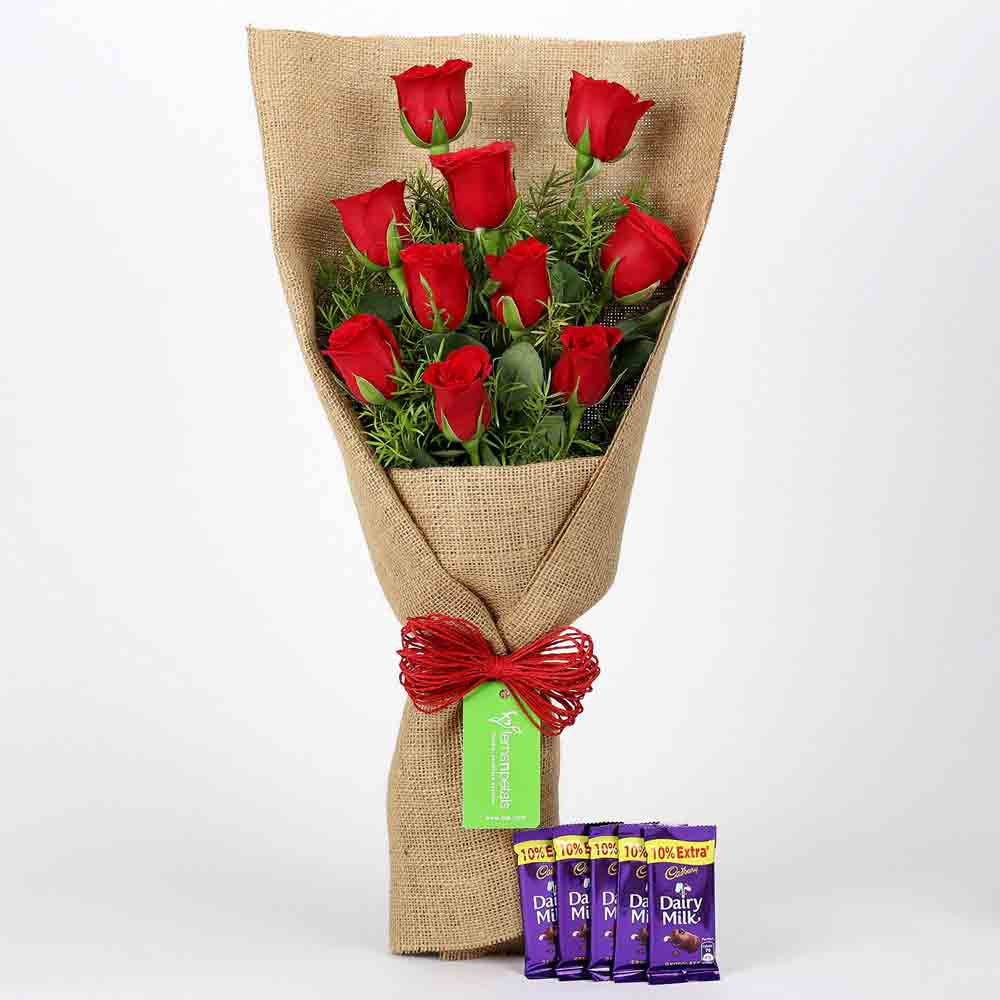 10 Red Roses & Cadbury Dairy Milk