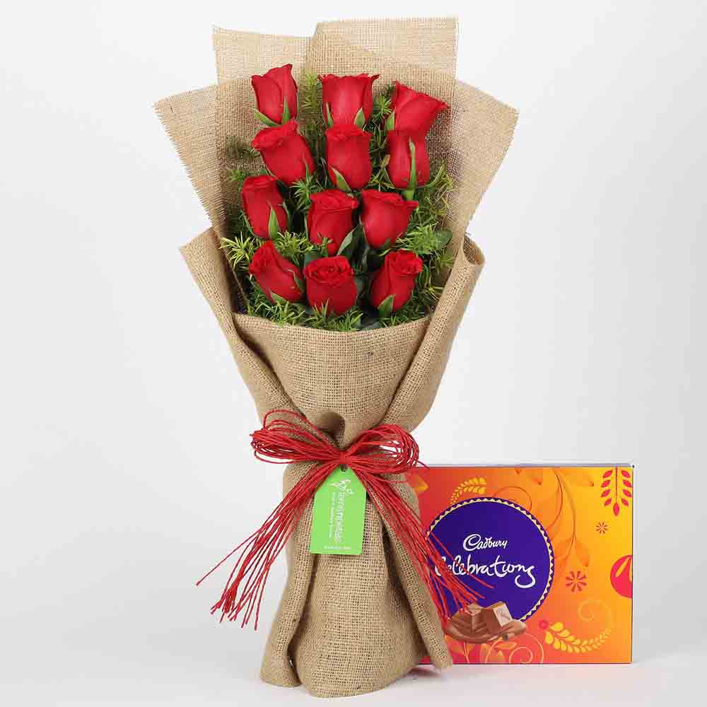 12 Layered Red Roses & Cadbury Celebrations
