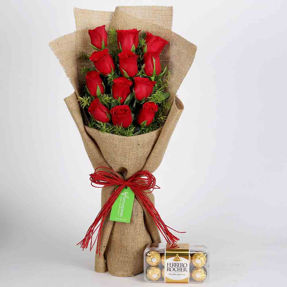 12 Layered Red Roses & Ferrero Rocher Chocolates