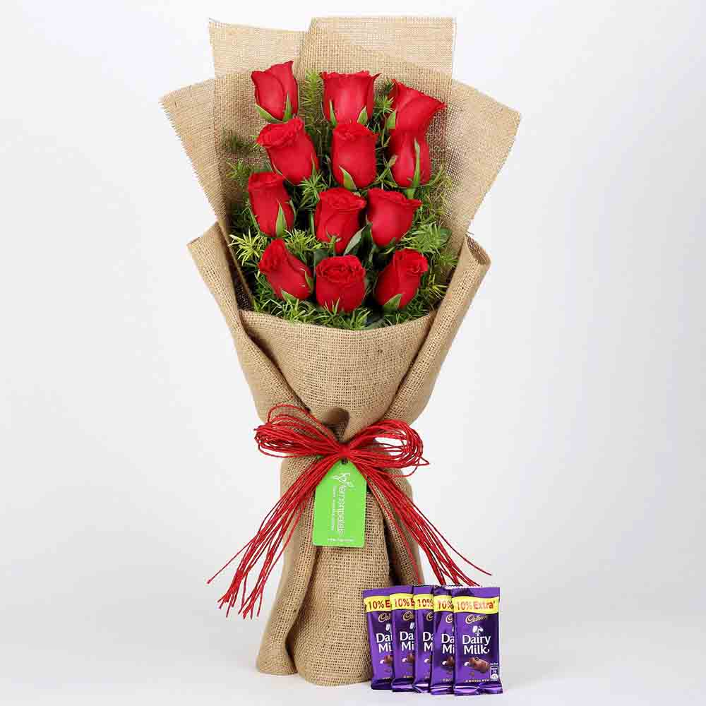 12 Layered Red Roses & Cadbury Dairy Milk