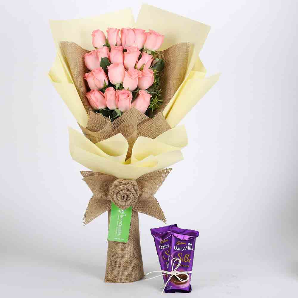 View 20 Pink Roses & Dairy Milk Silk Combo