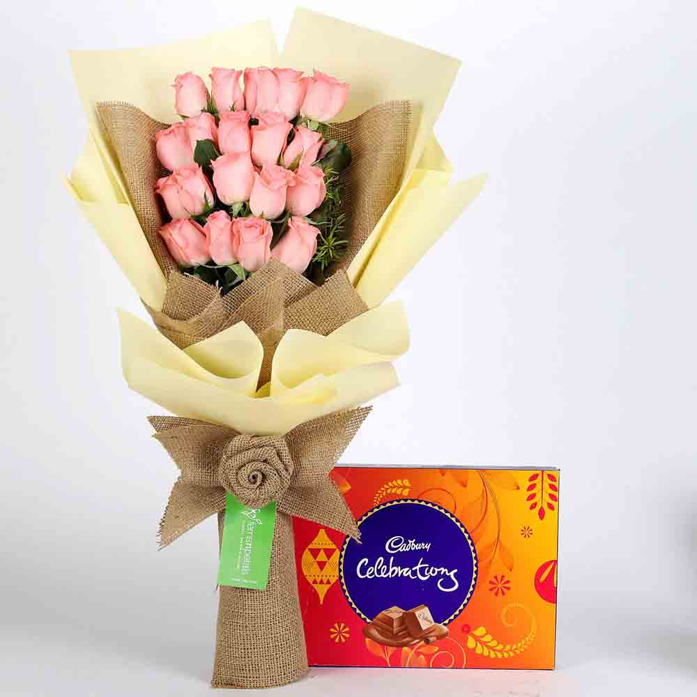 View 20 Pink Roses & Cadbury Celebrations Box