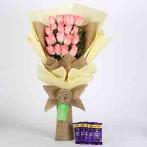 Chocolates & Flowers-20 Pink Roses Bouquet & Cadbury Dairy Milk