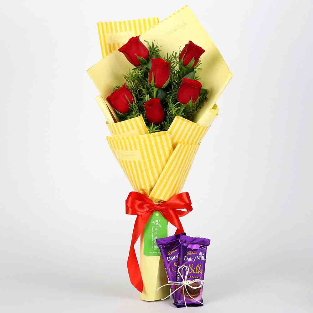 6 Red Roses Bouquet & Dairy Milk Silk