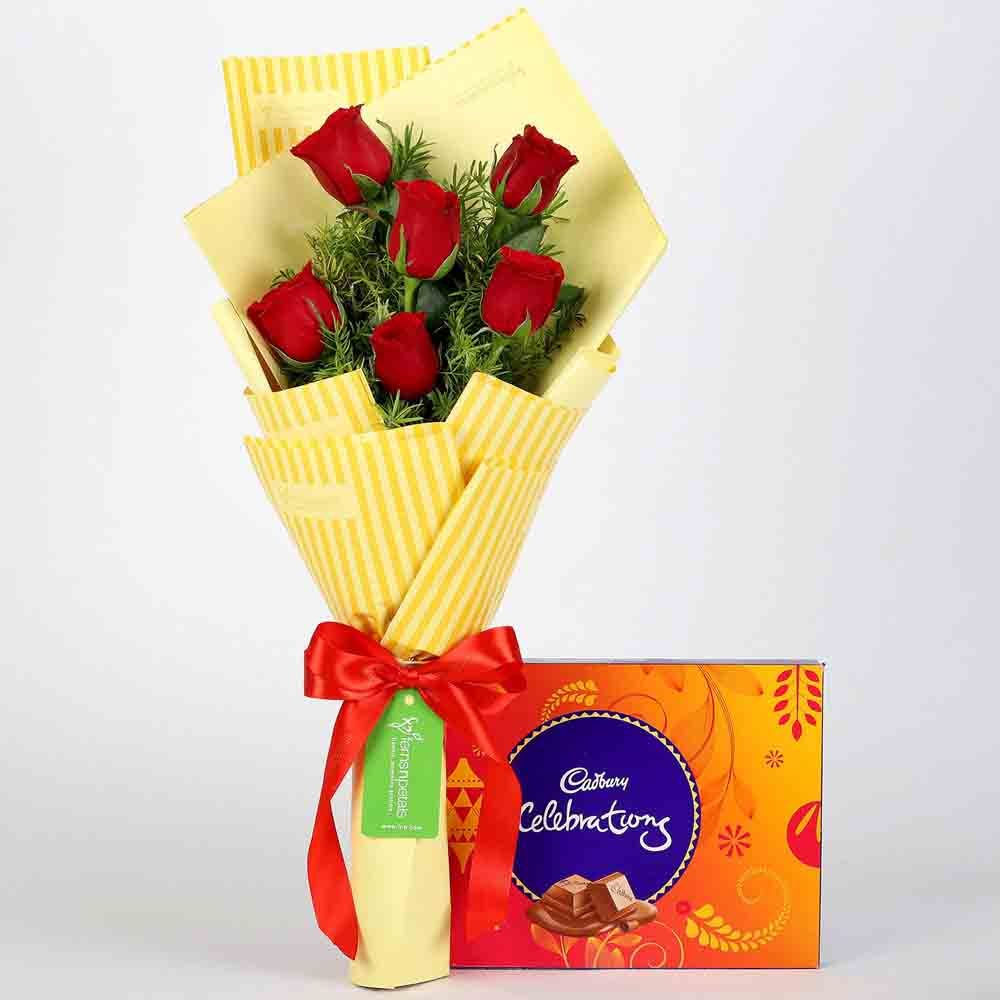 6 Red Roses & Cadbury Celebrations Combo