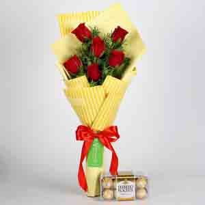 Chocolates & Flowers-6 Red Roses Bouquet & Ferrero Rocher Box
