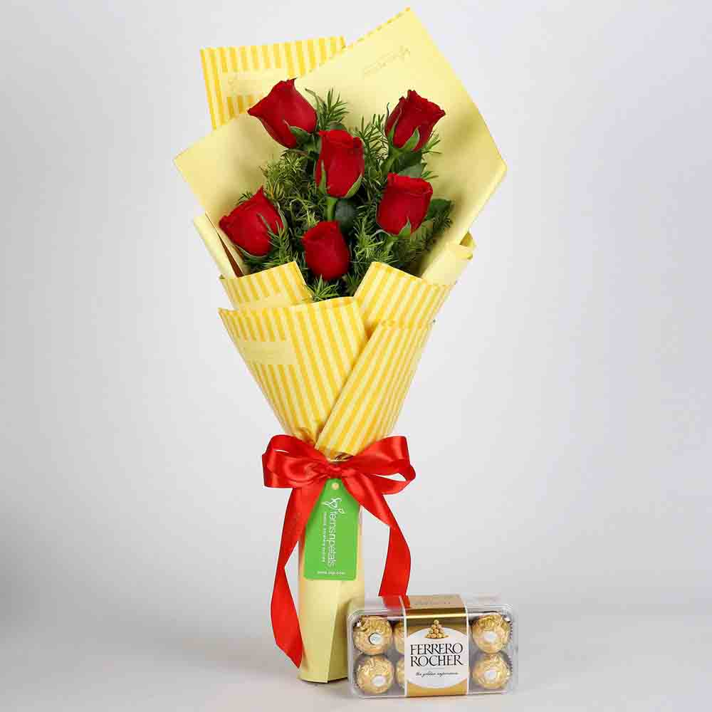 6 Red Roses Bouquet & Ferrero Rocher Box