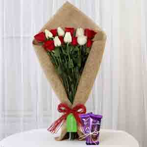 Chocolates & Flowers-Red & White Roses with Dairy Milk Silk