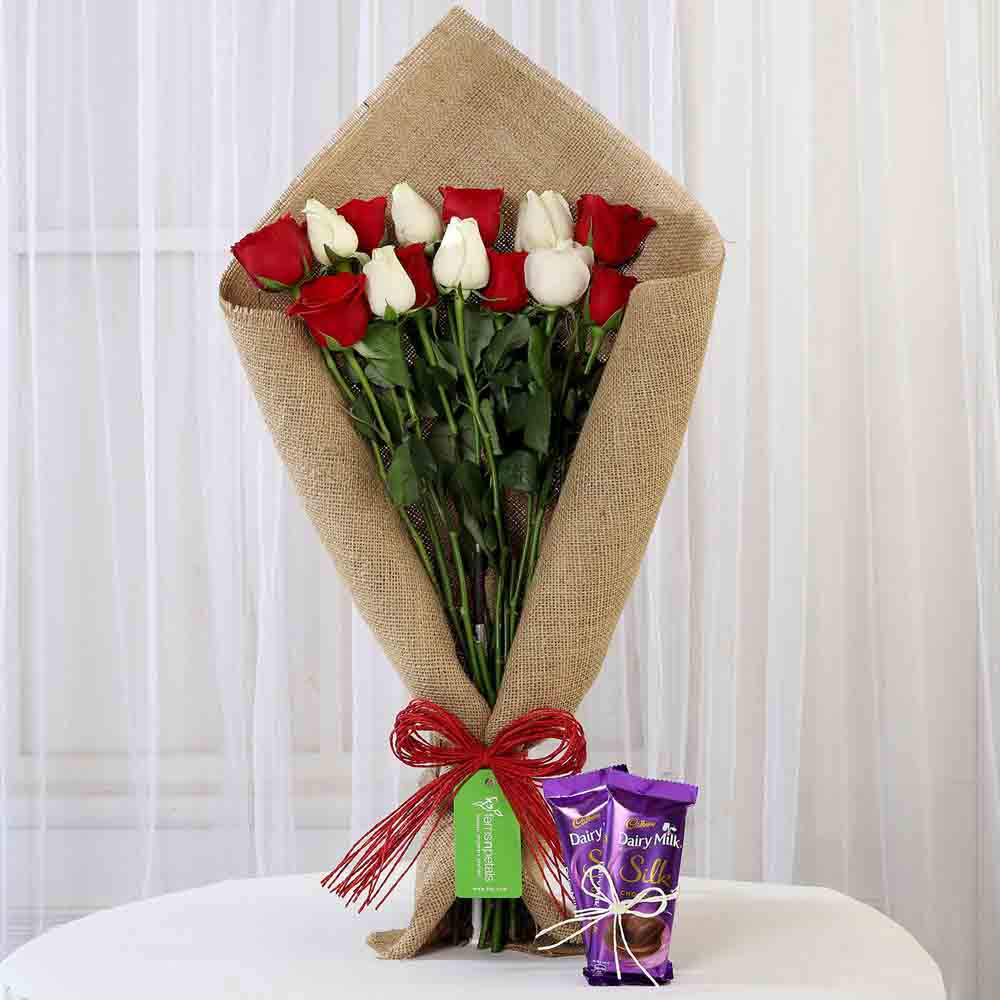 Red & White Roses with Dairy Milk Silk