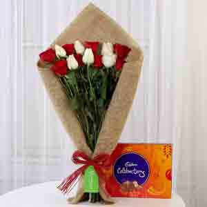 Chocolates & Flowers-Red & White Roses with Cadbury Celebrations