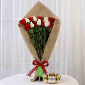Chocolates & Flowers-Red & White Roses with Ferrero Rocher