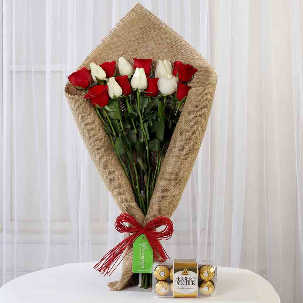 Red & White Roses with Ferrero Rocher