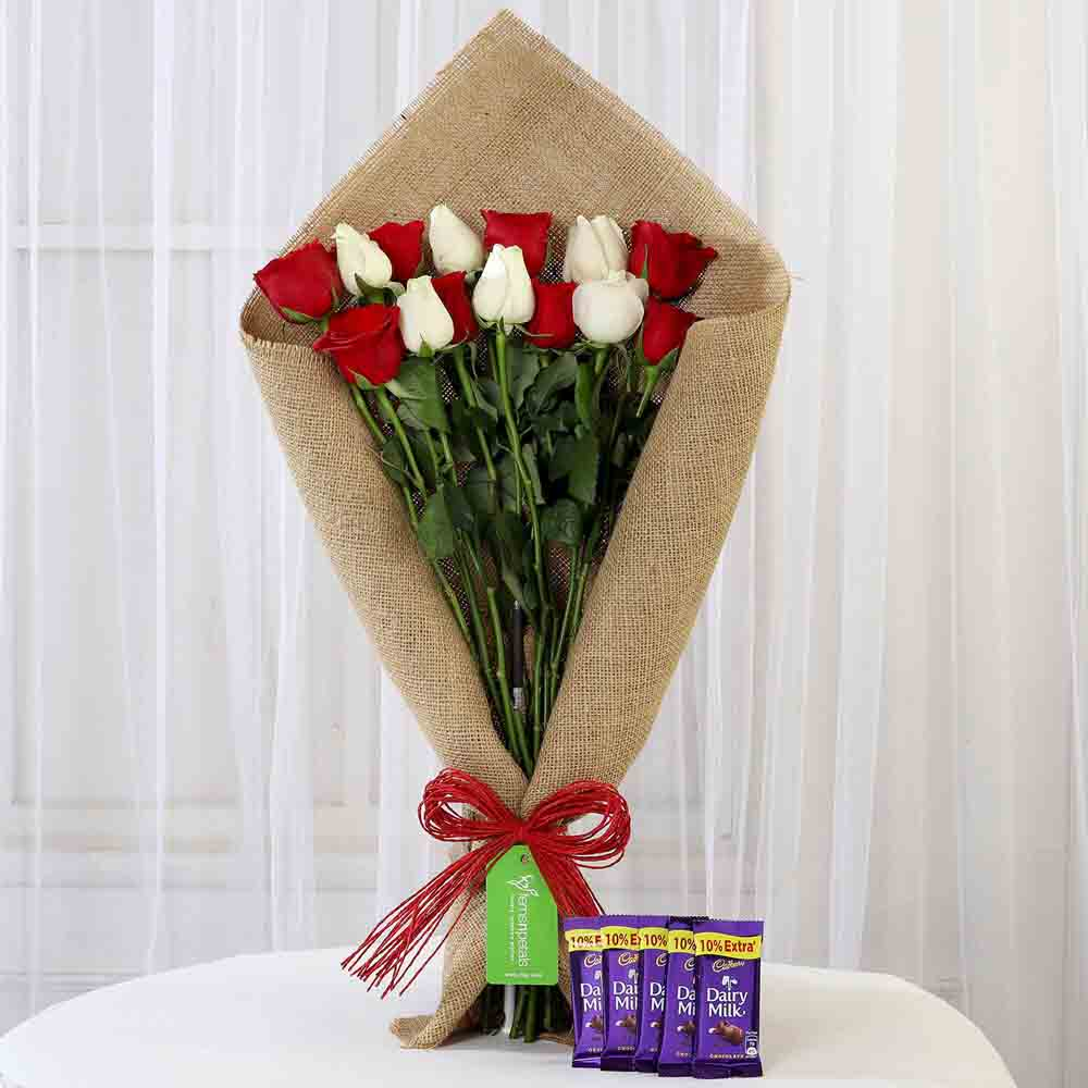 Red & White Roses with Cadbury Dairy Milk