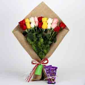 Chocolates & Flowers-Mix Roses Bouquet & Dairy Milk Silk
