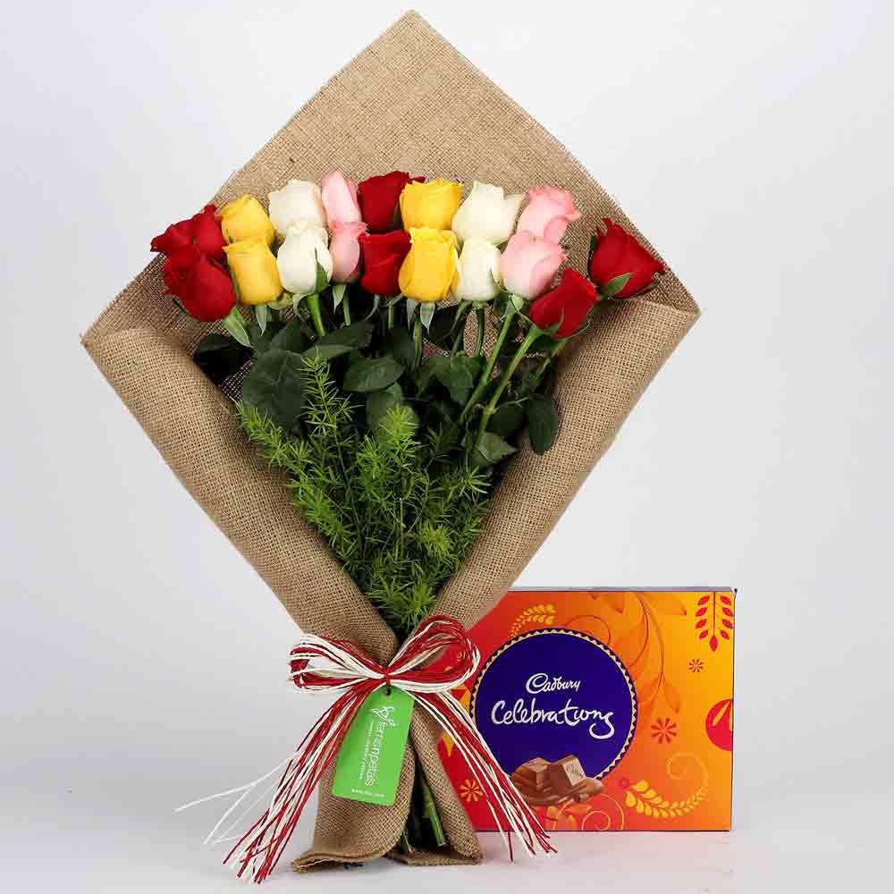 Mix Roses Bouquet & Cadbury Celebrations