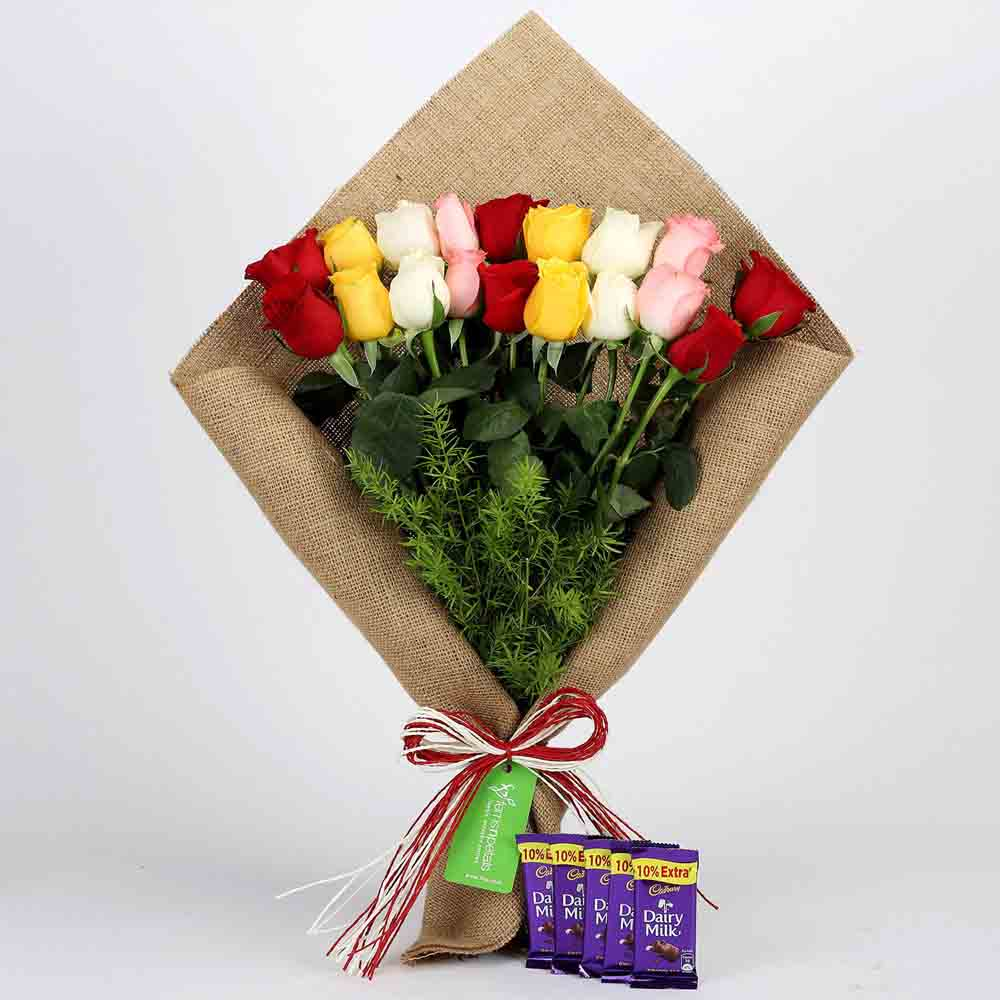Mix Roses Bouquet & Cadbury Dairy Milk