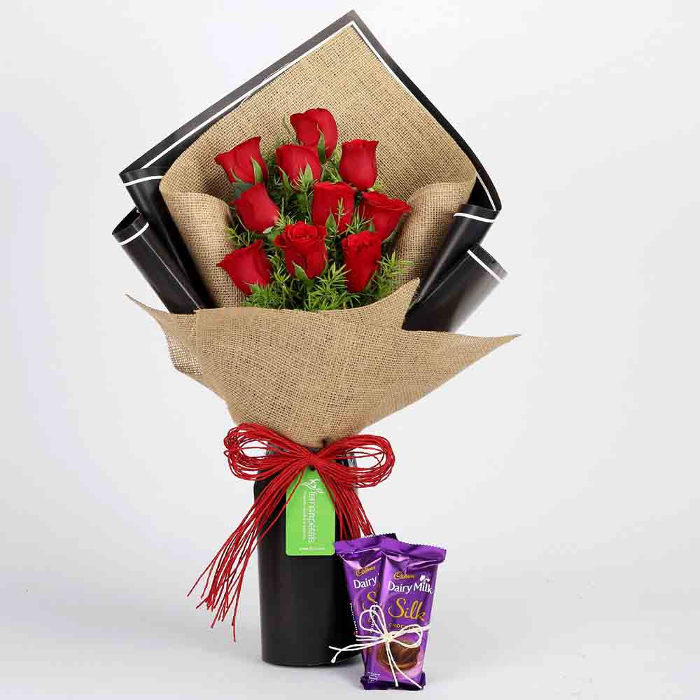 10 Red Roses & Dairy Milk Silk Combo