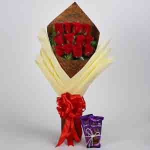 Chocolates & Flowers-Bouquet of Red Roses & Dairy Milk Silk