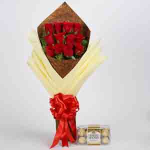 Chocolates & Flowers-Bouquet of 12 Red Roses & Ferrero Rocher