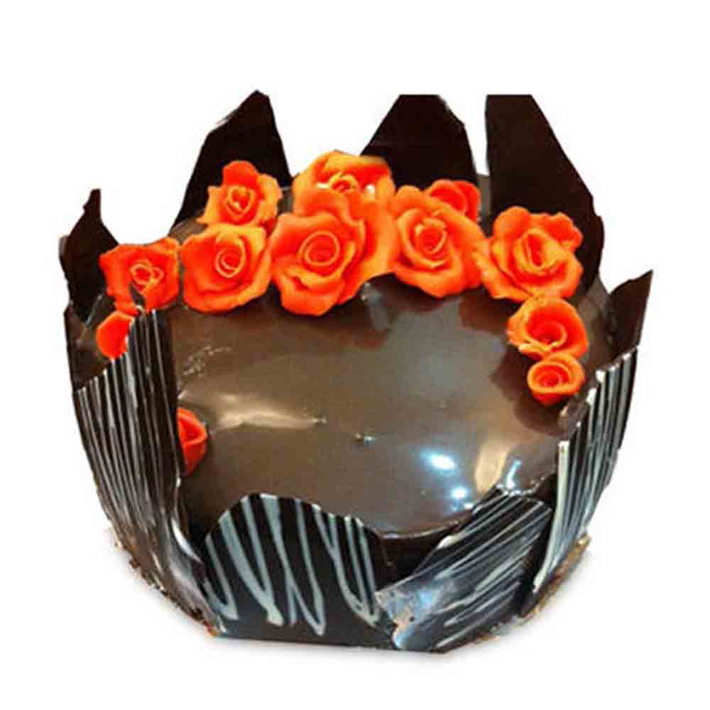 Chocolate Cake-Chocolate Cake With Red Flowers