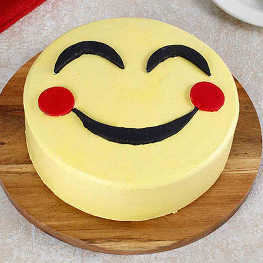 Blush Emoji Pineapple Cake 1kg Eggless