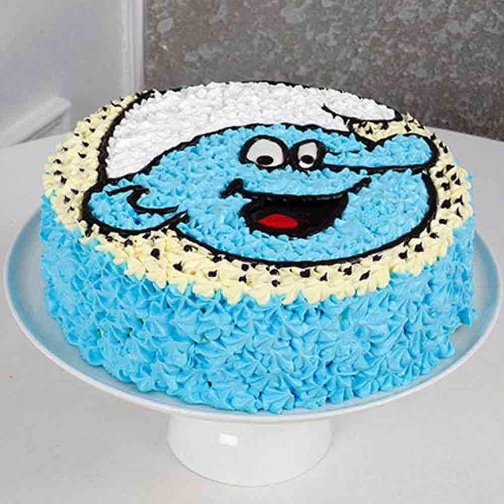 Cute Smurf Cream Chocolate Cake 1kg Eggless