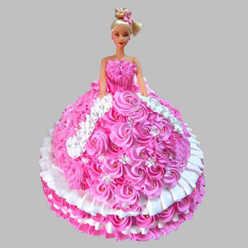 Rosy Barbie Cake Chocolate 2kg Eggless