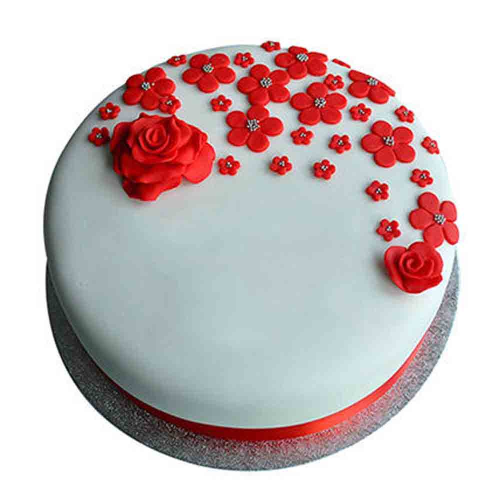 Chocolate Cake-Red Roses Anniversary Fondant Cake Chocolate 1kg