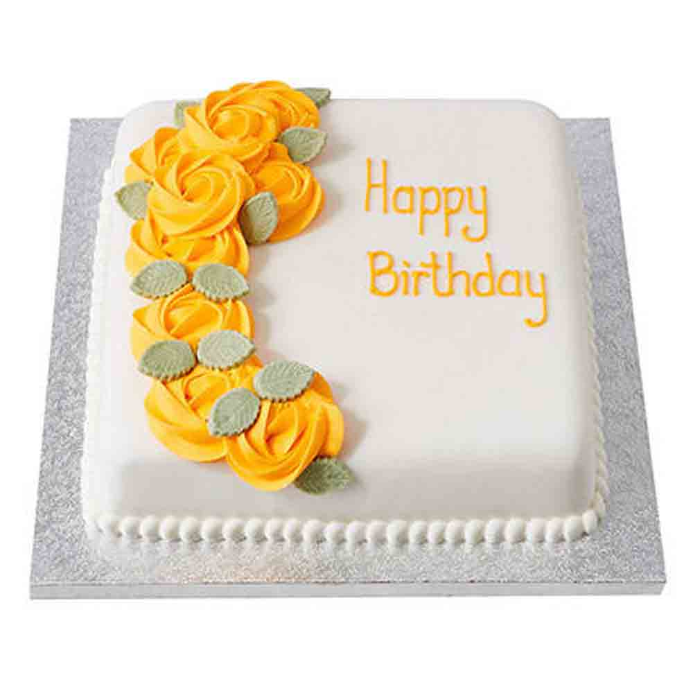 Yellow Roses Fondant Cake Chocolate 1kg