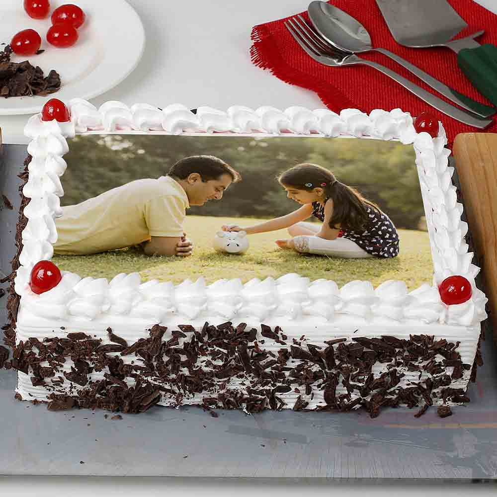 Special Black Forest Photo Cake 1kg Eggless
