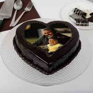 Photo Cakes-Heart Shaped Chocolate Truffle Photo Cake for Dad 1kg Eggless
