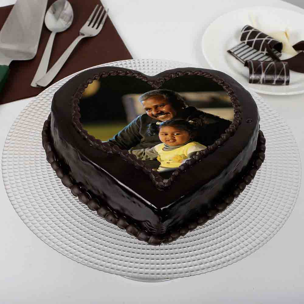 Heart Shaped Chocolate Truffle Photo Cake for Dad 1kg Eggless