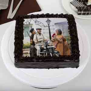 Photo Cakes-Tasty Truffle Rich Chocolate Photo Cake for Dad 1kg Eggless