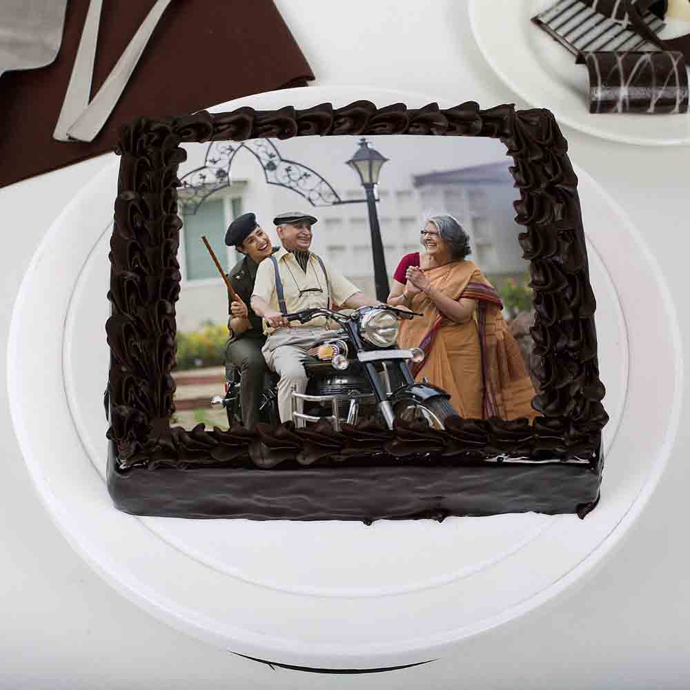 Tasty Truffle Rich Chocolate Photo Cake for Dad 1kg Eggless