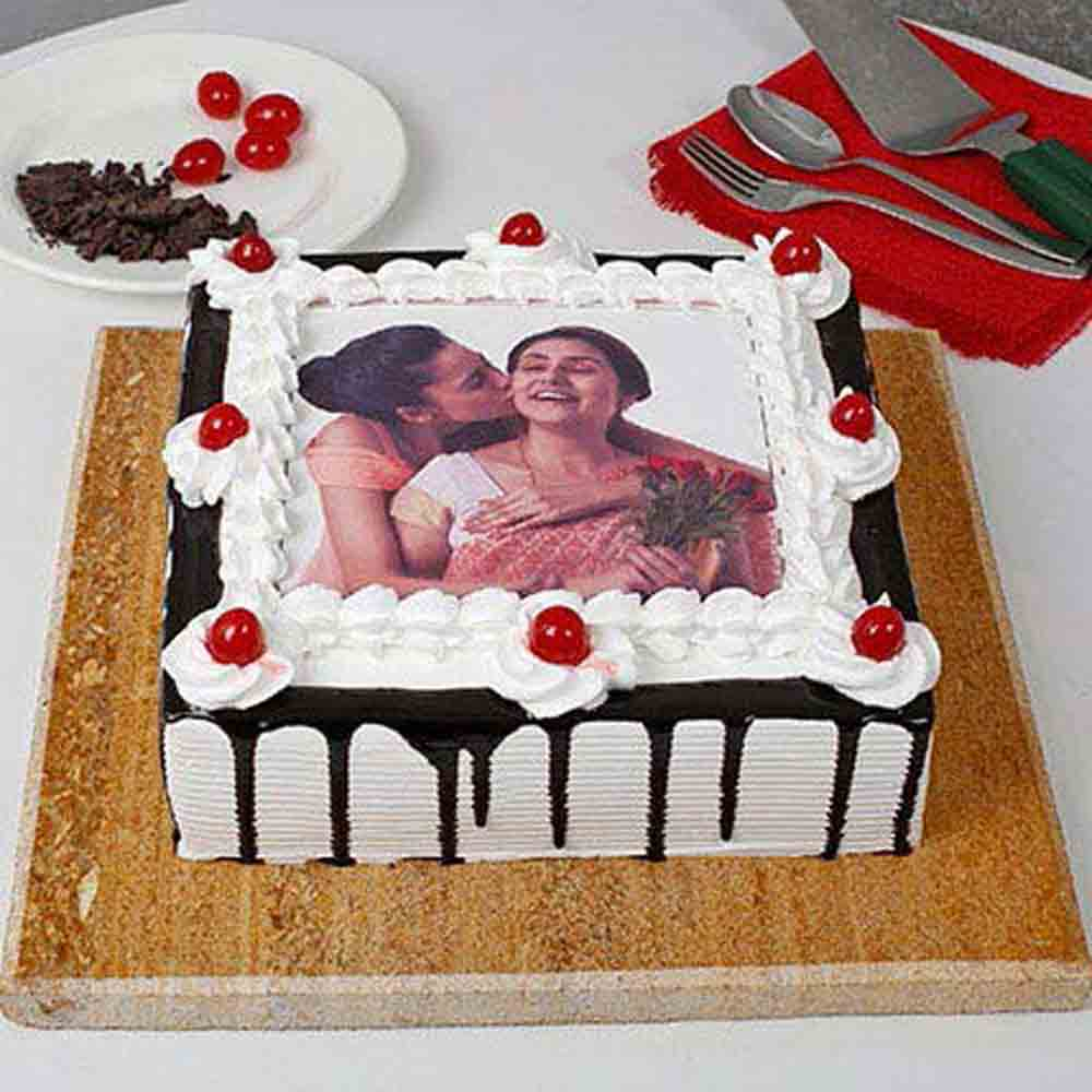 Black Forest Photo Cake for Mothers Day 1kg eggless