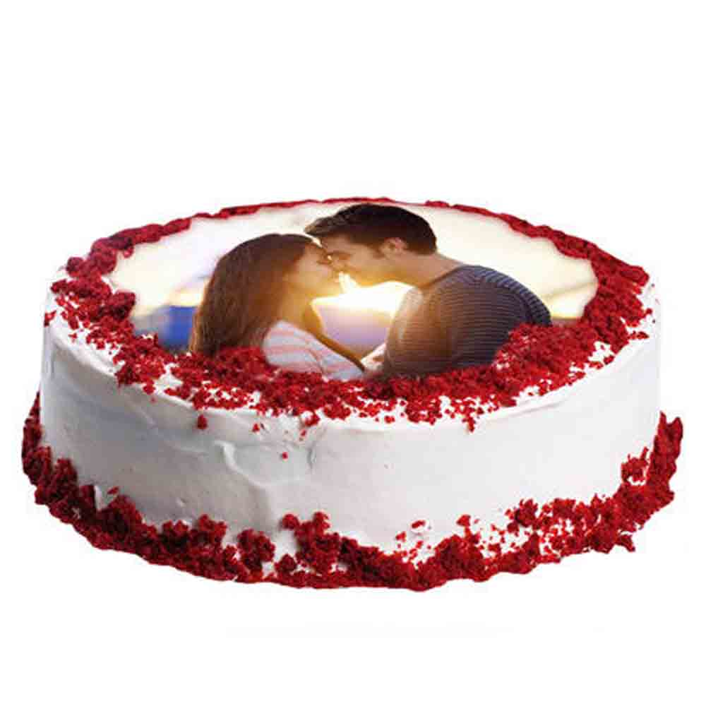 Red Velvet Photo Cake 1kg Eggless