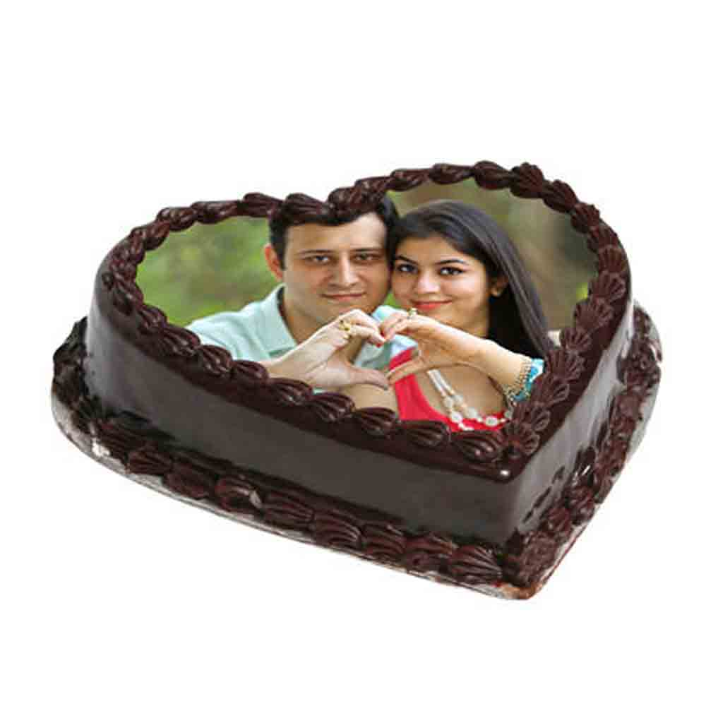 Heart Shape Photo Chocolate Cake 1kg Eggless