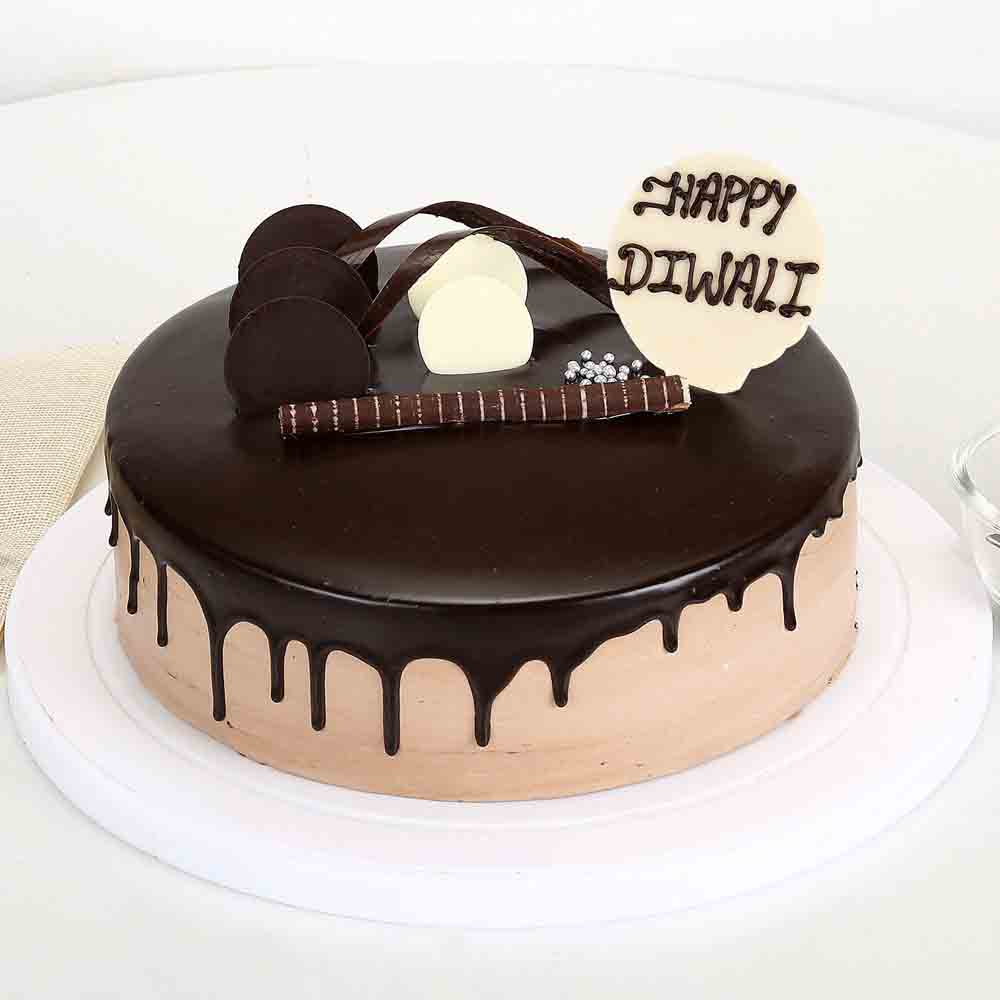 Happy Diwali Chocolate Cake Half Kg-Eggless