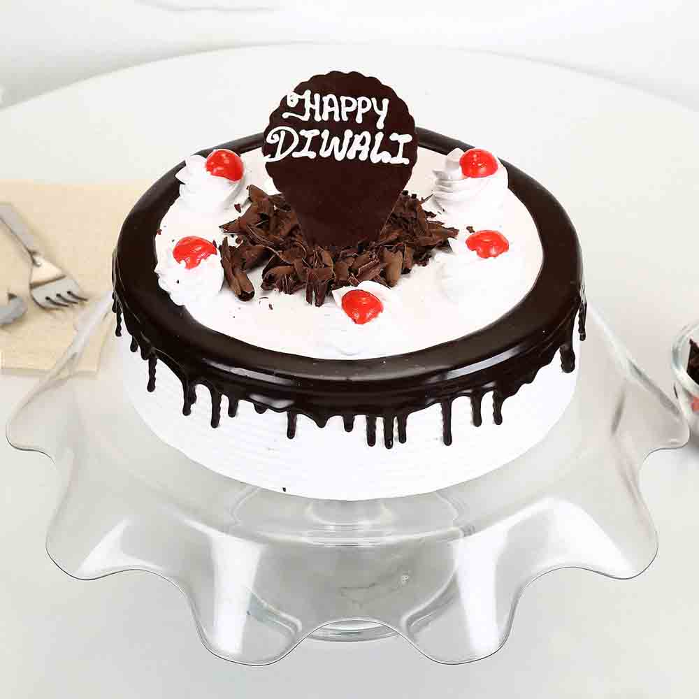 Happy Diwali Black Forest Cake Half Kg-Eggless