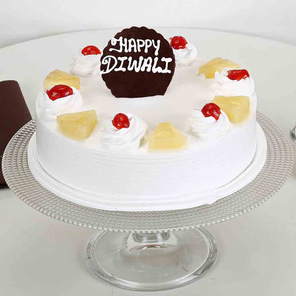 Happy Diwali Pineapple Cake Half Kg-Eggless