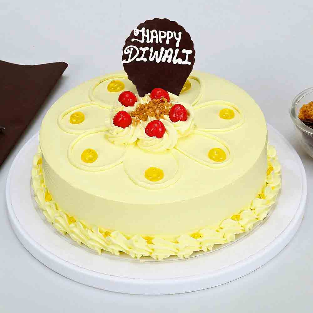 Happy Diwali Butterscotch Cake Half Kg-Eggless