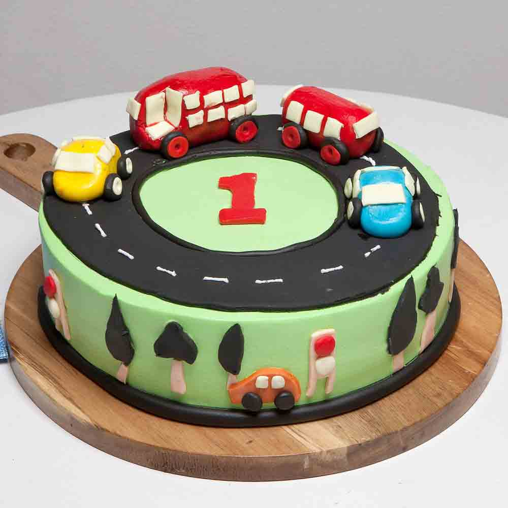 Eggless Cake-Race Track First Birthday Vanilla Cake 1 Kg Eggless