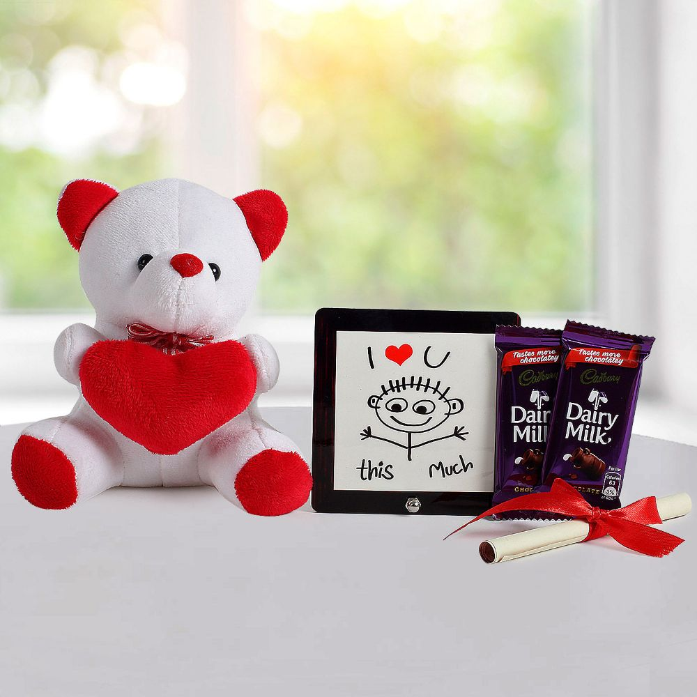 Stuffed Toys Gift Hampers-A hamper and love message gifts